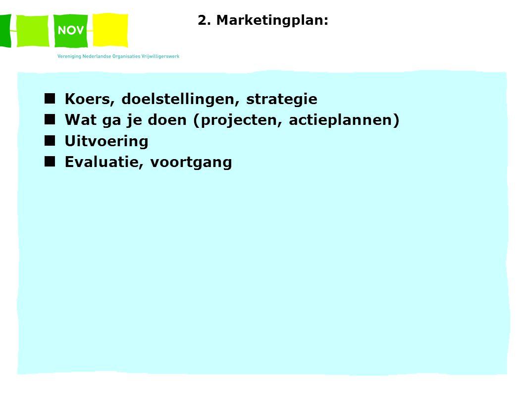 2. Marketingplan: Koers, doelstellingen, strategie Wat ga je doen (projecten, actieplannen) Uitvoering Evaluatie, voortgang