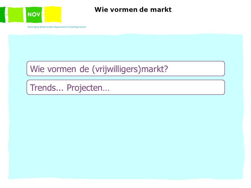Wie vormen de (vrijwilligers)markt Trends... Projecten … Wie vormen de markt