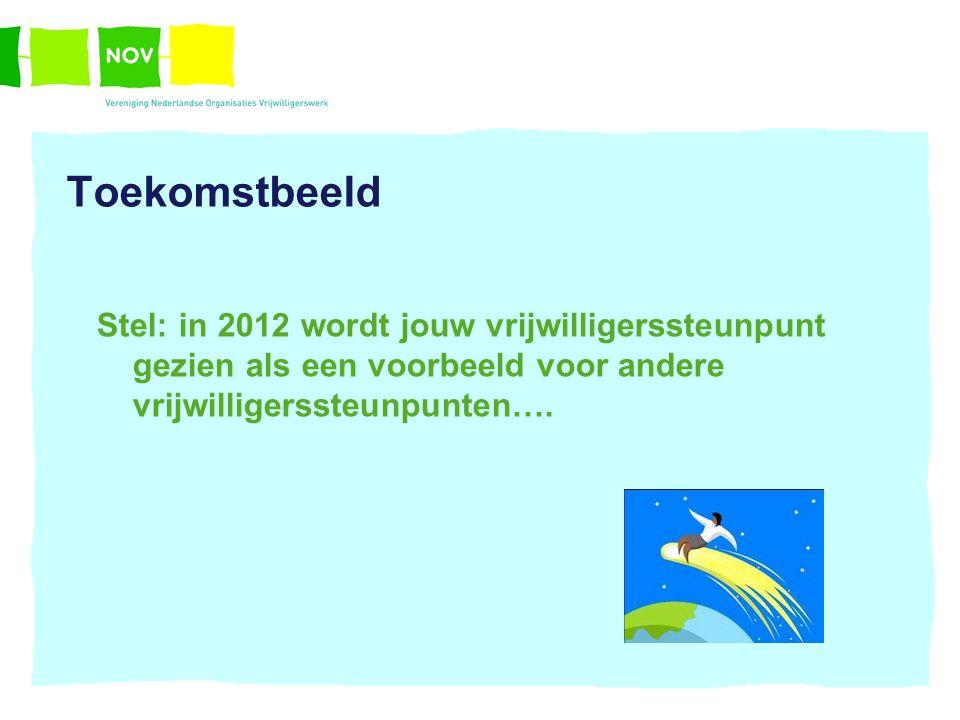 Toekomstbeeld Stel: in 2012 wordt jouw vrijwilligerssteunpunt gezien als een voorbeeld voor andere vrijwilligerssteunpunten….