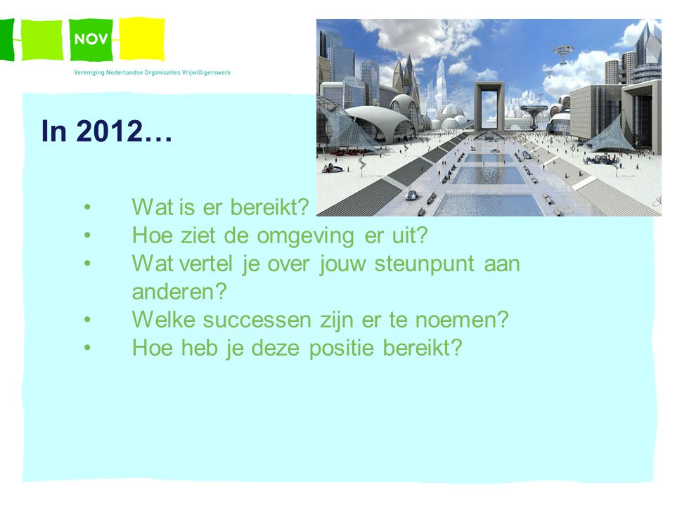 In 2012… Wat is er bereikt? Hoe ziet de omgeving er uit? Wat vertel je over jouw steunpunt aan anderen? Welke successen zijn er te noemen? Hoe heb je