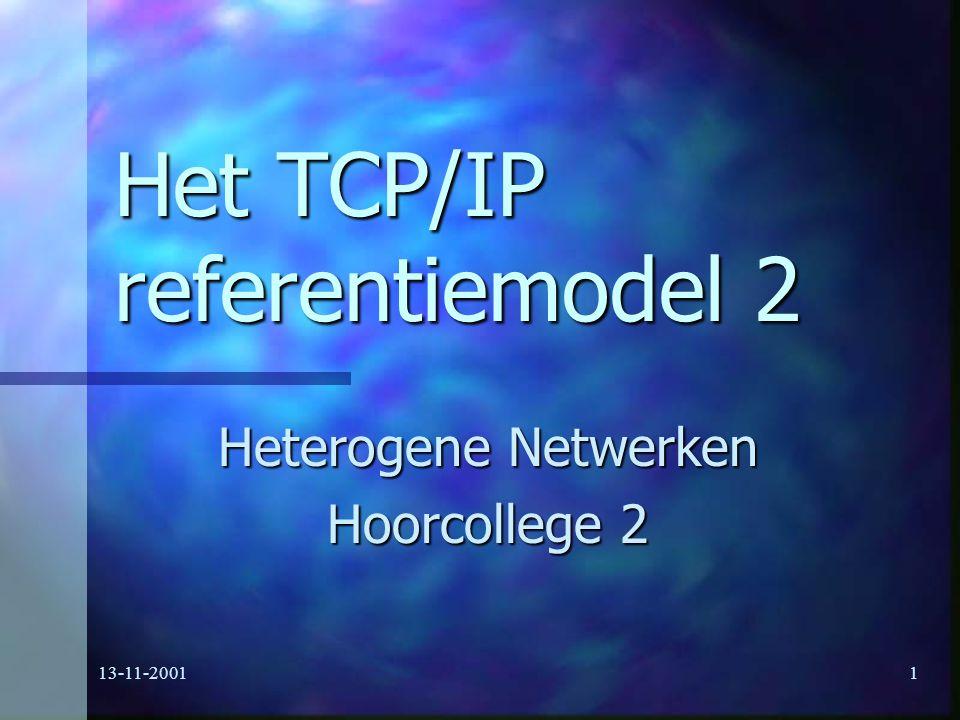 13-11-20011 Het TCP/IP referentiemodel 2 Heterogene Netwerken Hoorcollege 2