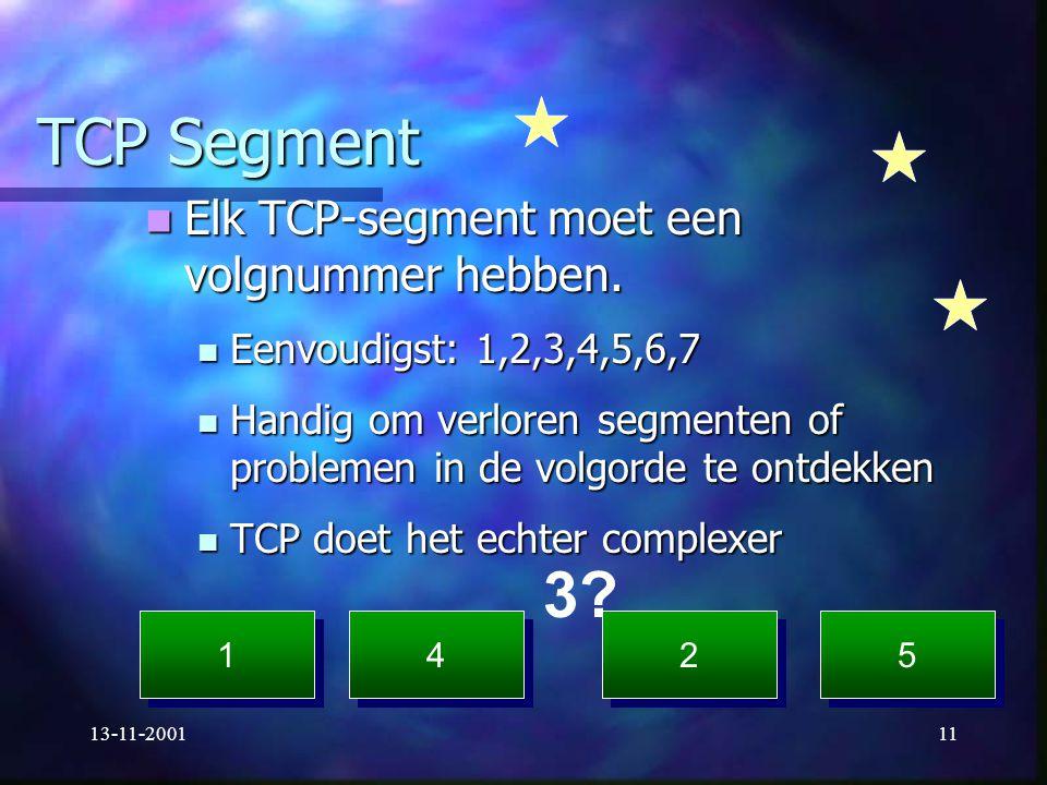13-11-200111 TCP Segment Elk TCP-segment moet een volgnummer hebben. Elk TCP-segment moet een volgnummer hebben. Eenvoudigst: 1,2,3,4,5,6,7 Eenvoudigs