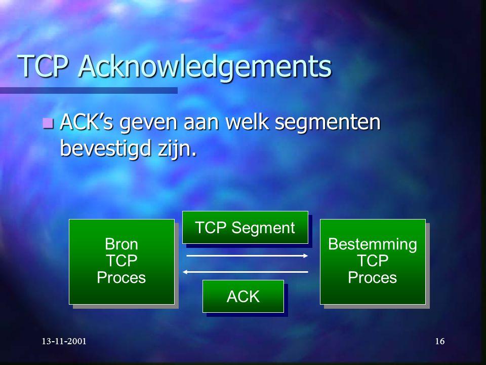 13-11-200116 TCP Acknowledgements ACK's geven aan welk segmenten bevestigd zijn. ACK's geven aan welk segmenten bevestigd zijn. Bron TCP Proces Bron T