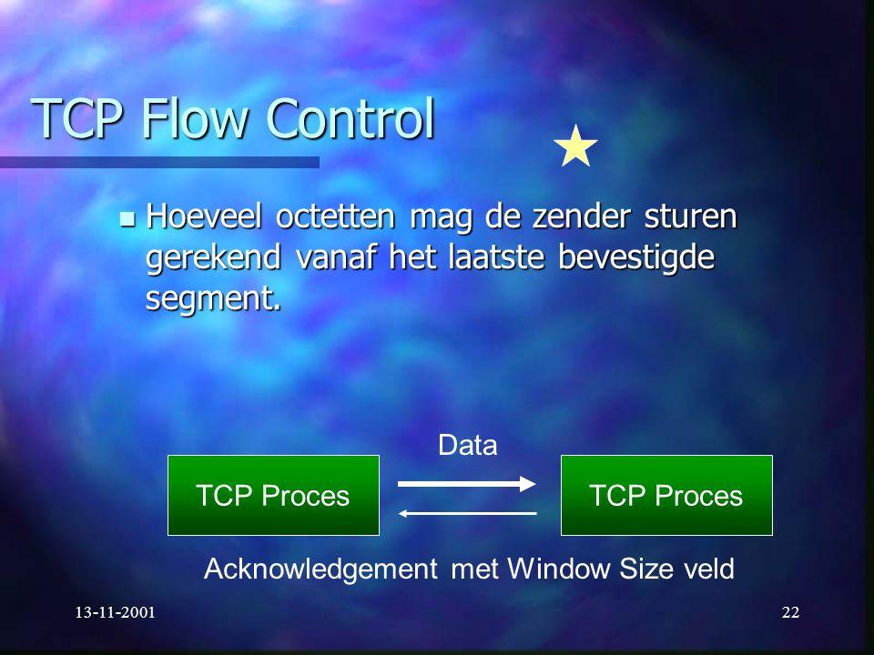 13-11-200122 TCP Flow Control Hoeveel octetten mag de zender sturen gerekend vanaf het laatste bevestigde segment. Hoeveel octetten mag de zender stur