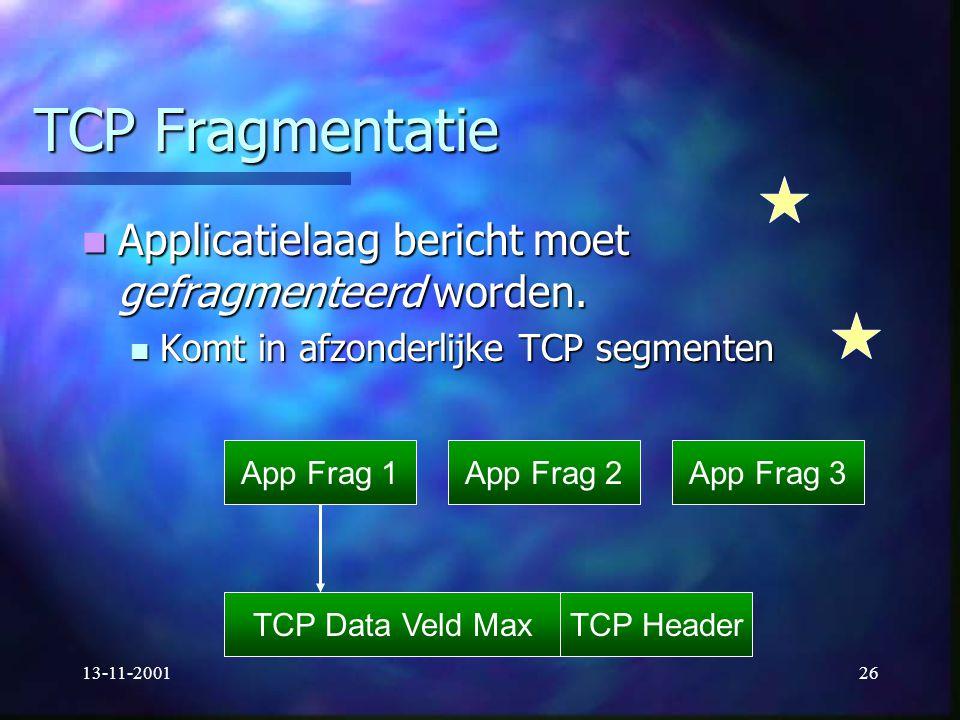 13-11-200126 TCP Fragmentatie Applicatielaag bericht moet gefragmenteerd worden. Applicatielaag bericht moet gefragmenteerd worden. Komt in afzonderli