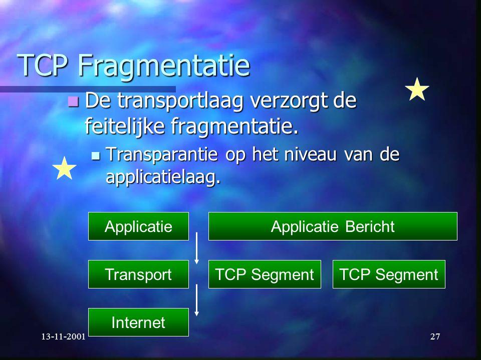 13-11-200127 TCP Fragmentatie De transportlaag verzorgt de feitelijke fragmentatie. De transportlaag verzorgt de feitelijke fragmentatie. Transparanti