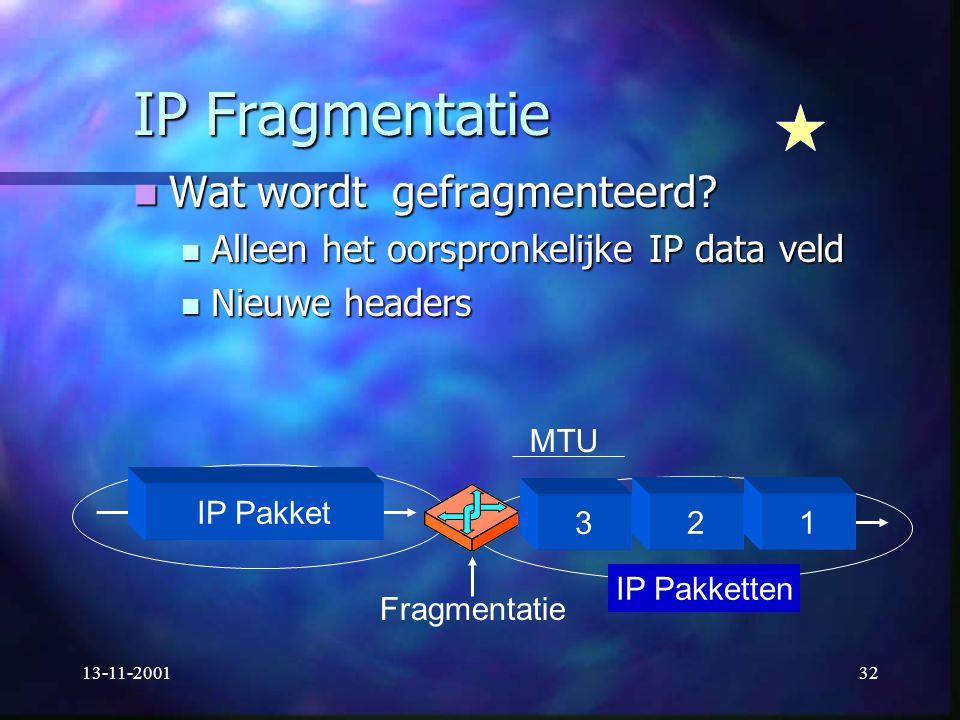 13-11-200132 IP Fragmentatie Wat wordt gefragmenteerd? Wat wordt gefragmenteerd? Alleen het oorspronkelijke IP data veld Alleen het oorspronkelijke IP