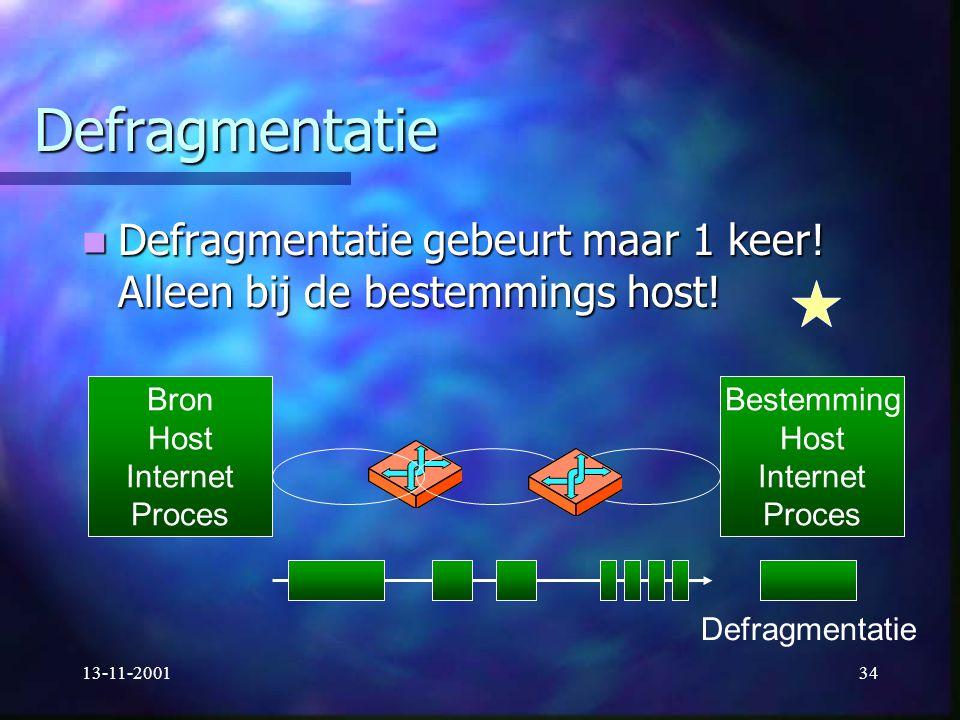 13-11-200134 Defragmentatie Defragmentatie gebeurt maar 1 keer! Alleen bij de bestemmings host! Defragmentatie gebeurt maar 1 keer! Alleen bij de best