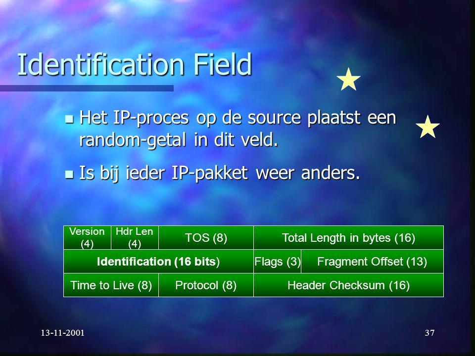 13-11-200137 Identification Field Het IP-proces op de source plaatst een random-getal in dit veld. Het IP-proces op de source plaatst een random-getal
