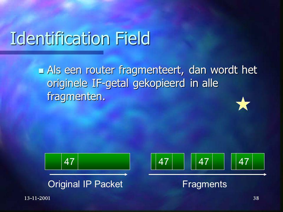 13-11-200138 Identification Field Als een router fragmenteert, dan wordt het originele IF-getal gekopieerd in alle fragmenten. Als een router fragment