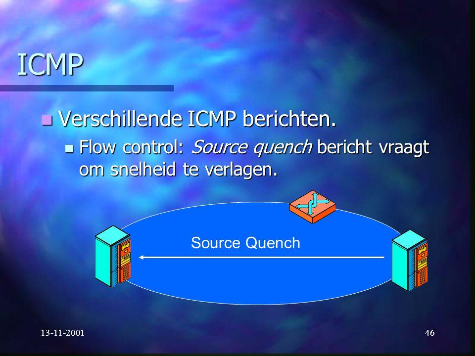 13-11-200146 ICMP Verschillende ICMP berichten. Verschillende ICMP berichten. Flow control: Source quench bericht vraagt om snelheid te verlagen. Flow
