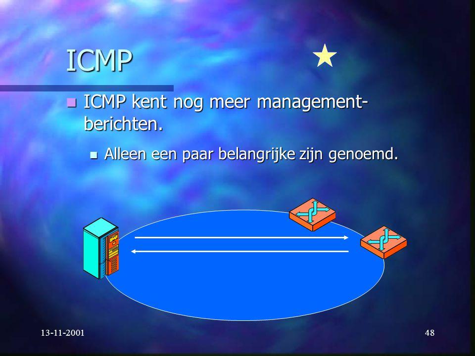 13-11-200148 ICMP ICMP kent nog meer management- berichten. ICMP kent nog meer management- berichten. Alleen een paar belangrijke zijn genoemd. Alleen