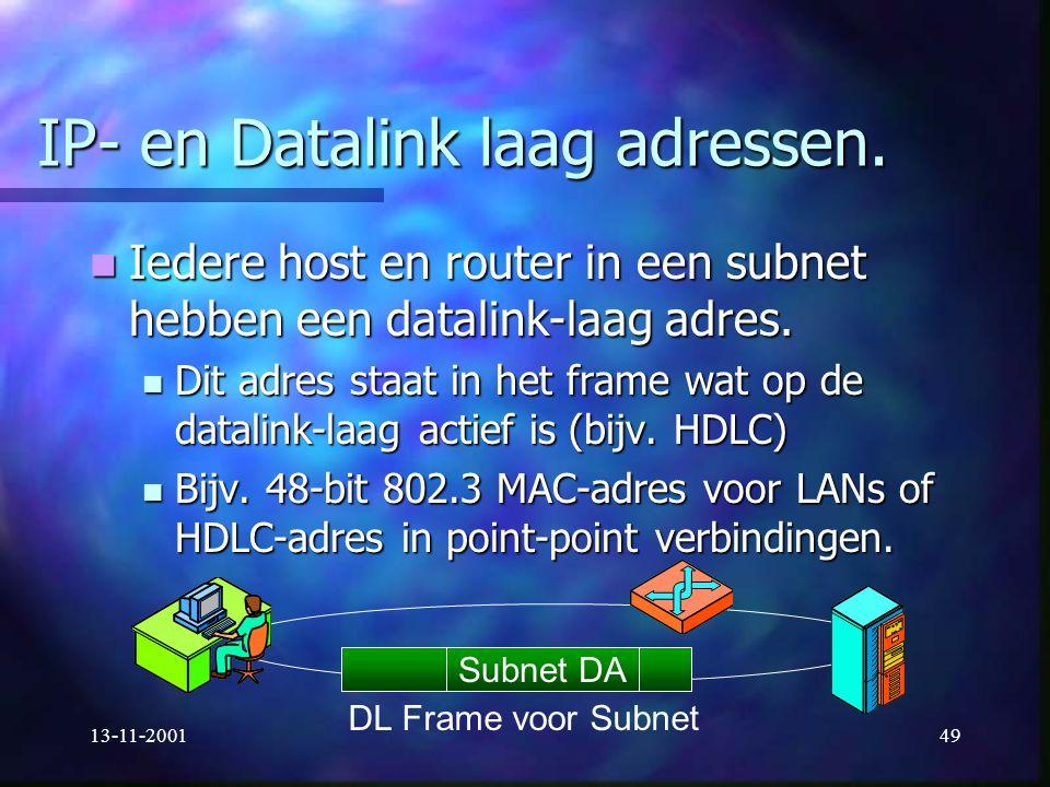 13-11-200149 IP- en Datalink laag adressen. Iedere host en router in een subnet hebben een datalink-laag adres. Iedere host en router in een subnet he