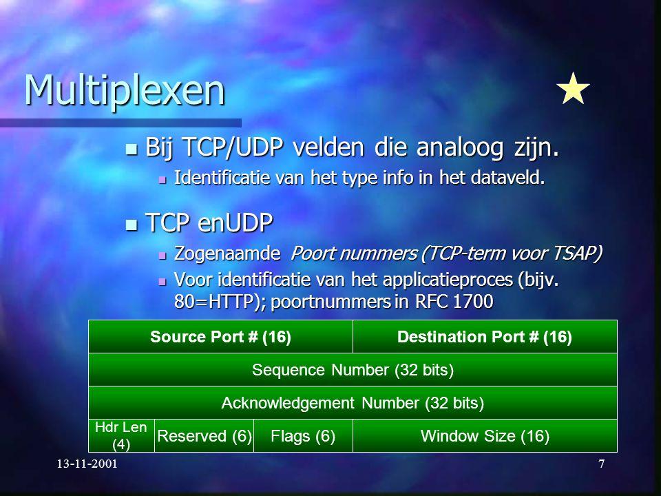 13-11-20017 Multiplexen Bij TCP/UDP velden die analoog zijn. Bij TCP/UDP velden die analoog zijn. Identificatie van het type info in het dataveld. Ide
