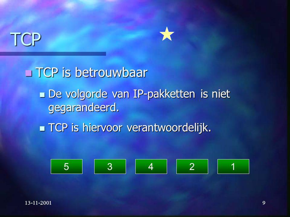 13-11-20019 TCP TCP is betrouwbaar TCP is betrouwbaar De volgorde van IP-pakketten is niet gegarandeerd. De volgorde van IP-pakketten is niet gegarand