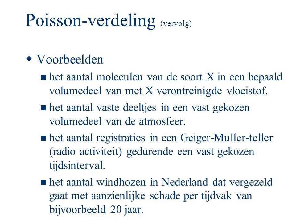 Poisson-verdeling (vervolg)  Voorbeelden het aantal moleculen van de soort X in een bepaald volumedeel van met X verontreinigde vloeistof. het aantal