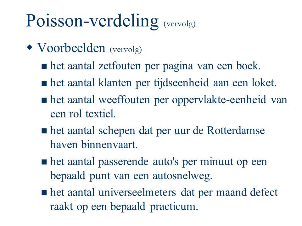 Poisson-verdeling (vervolg)  Voorbeelden (vervolg) het aantal zetfouten per pagina van een boek. het aantal klanten per tijdseenheid aan een loket. h