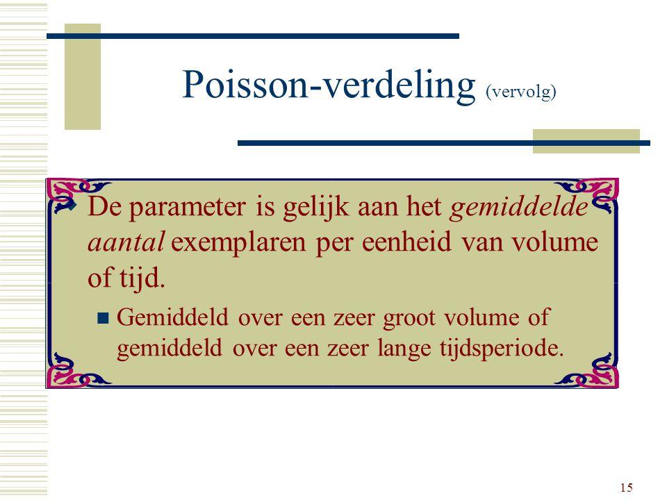 15 Poisson-verdeling (vervolg)  De parameter is gelijk aan het gemiddelde aantal exemplaren per eenheid van volume of tijd. Gemiddeld over een zeer g