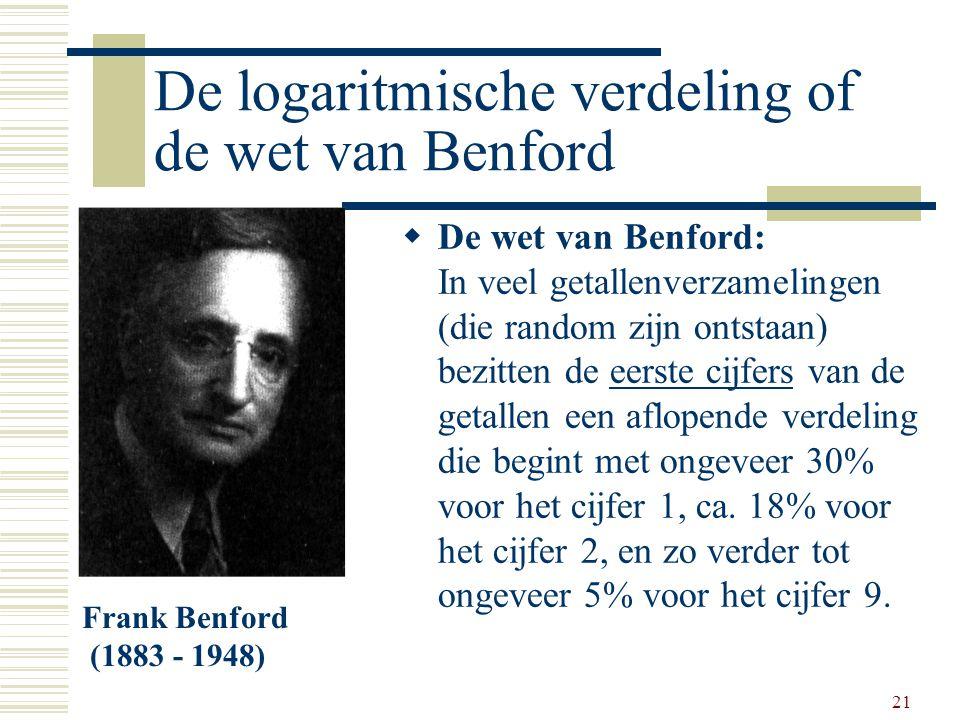 21 De logaritmische verdeling of de wet van Benford  De wet van Benford: In veel getallenverzamelingen (die random zijn ontstaan) bezitten de eerste
