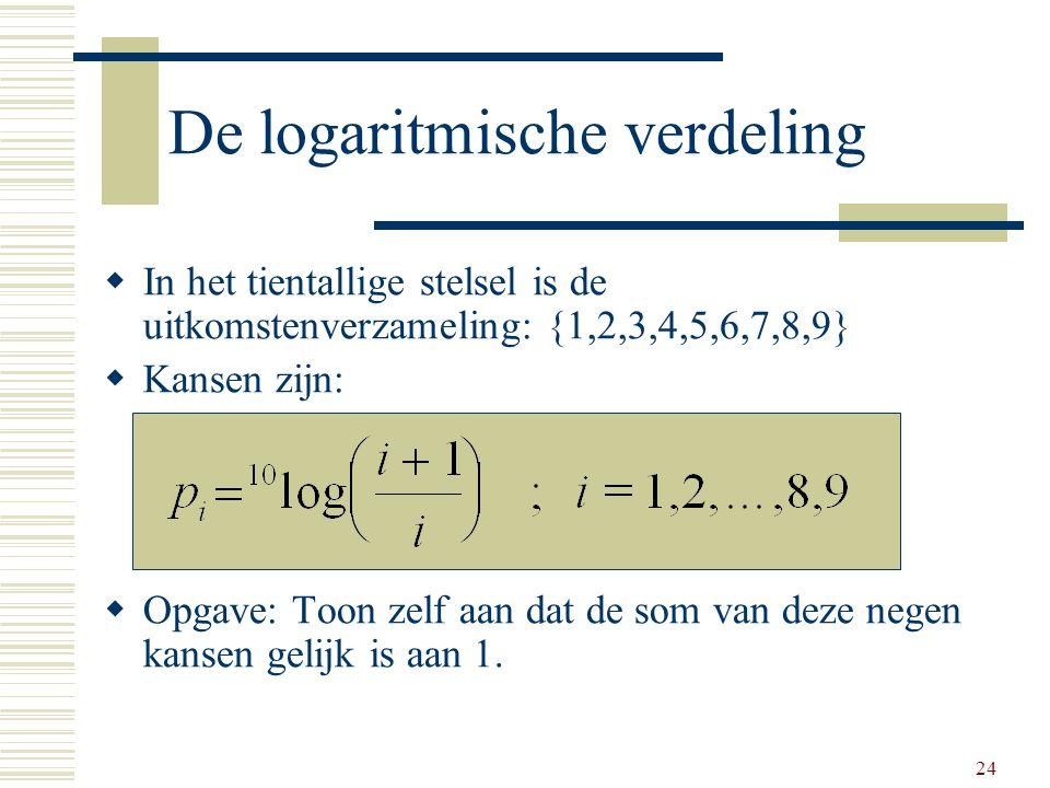 24 De logaritmische verdeling  In het tientallige stelsel is de uitkomstenverzameling: {1,2,3,4,5,6,7,8,9}  Kansen zijn:  Opgave: Toon zelf aan dat