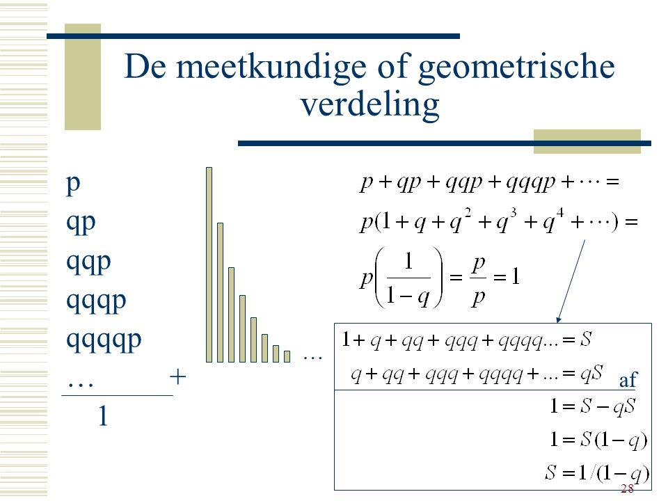 28 De meetkundige of geometrische verdeling p qp qqp qqqp qqqqp … + 1 … af