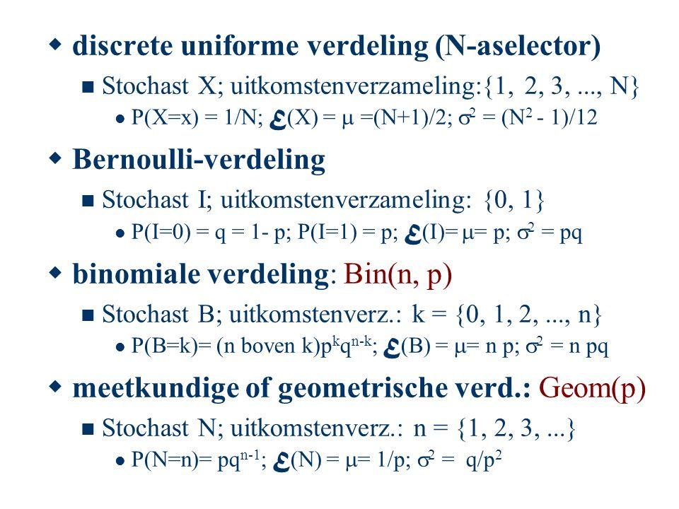  discrete uniforme verdeling (N-aselector) Stochast X; uitkomstenverzameling:{1, 2, 3,..., N} P(X=x) = 1/N; E (X) =  =(N+1)/2;  2 = (N 2 - 1)/12 