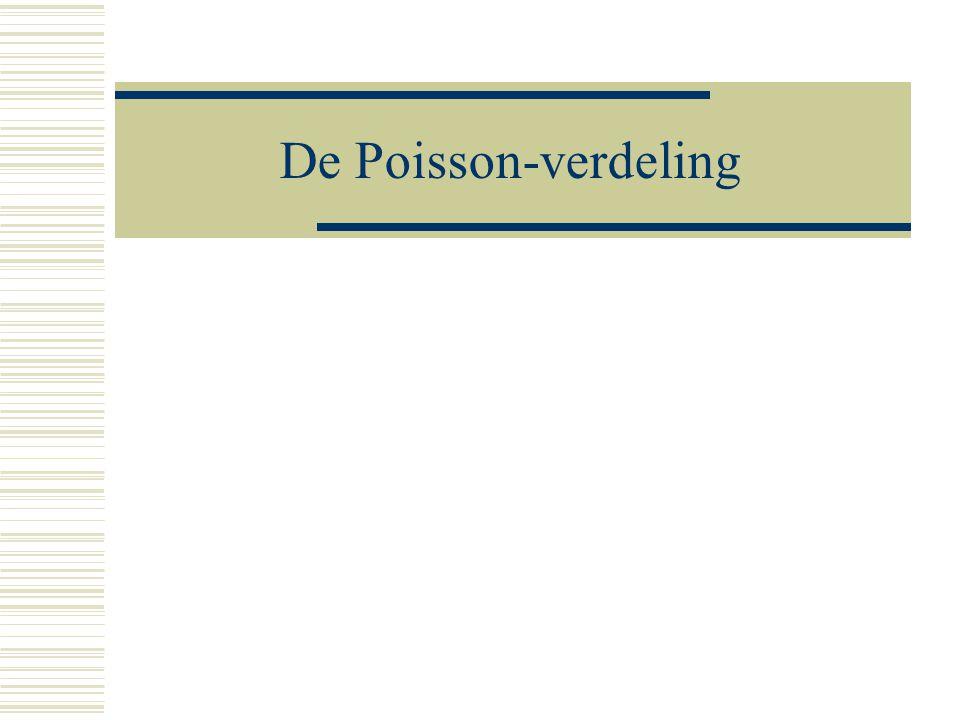 18 Het verjaardagsprobleem  P(1 of meer) = 1 - P(0)  P(1 of meer) = 1 - Bin((1/2)*m*(m-1);1/365)  P(1 of meer) = 1 - Poisson(0; (1/2)*m*(m-1))  Bin(n; p)  Poisson(  )