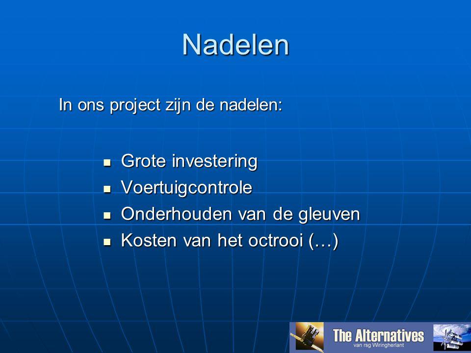Nadelen Grote investering Grote investering Voertuigcontrole Voertuigcontrole Onderhouden van de gleuven Onderhouden van de gleuven Kosten van het octrooi (…) Kosten van het octrooi (…) In ons project zijn de nadelen: