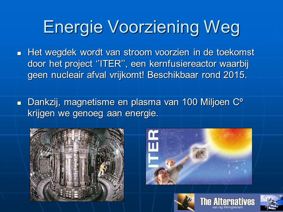 Energie Voorziening Weg Het wegdek wordt van stroom voorzien in de toekomst door het project ''ITER'', een kernfusiereactor waarbij geen nucleair afval vrijkomt.