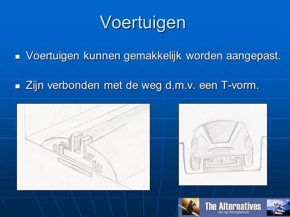 Voertuigen Voertuigen kunnen gemakkelijk worden aangepast. Voertuigen kunnen gemakkelijk worden aangepast. Zijn verbonden met de weg d.m.v. een T-vorm
