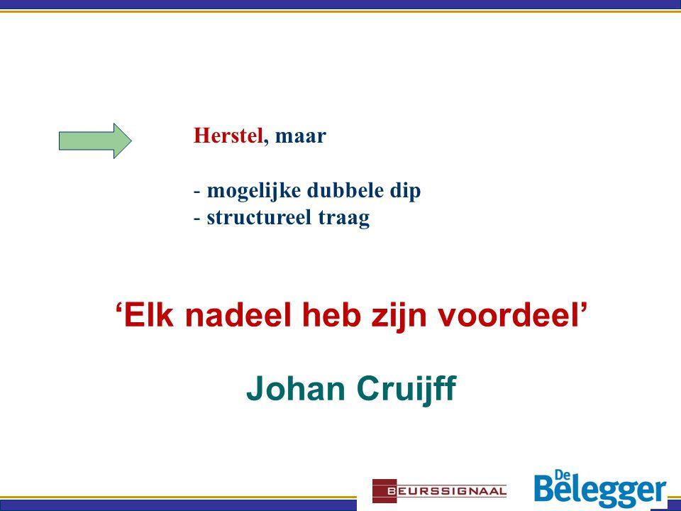 'Elk nadeel heb zijn voordeel' Johan Cruijff Herstel, maar - mogelijke dubbele dip - structureel traag