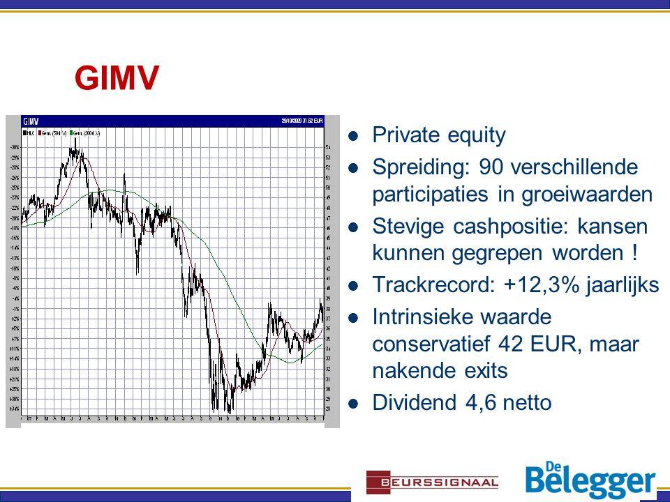 GIMV Private equity Spreiding: 90 verschillende participaties in groeiwaarden Stevige cashpositie: kansen kunnen gegrepen worden .