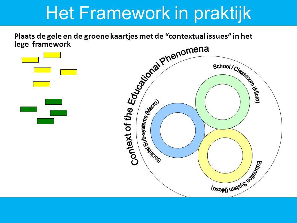 7 Plaats de gele en de groene kaartjes met de contextual issues in het lege framework Het Framework in praktijk