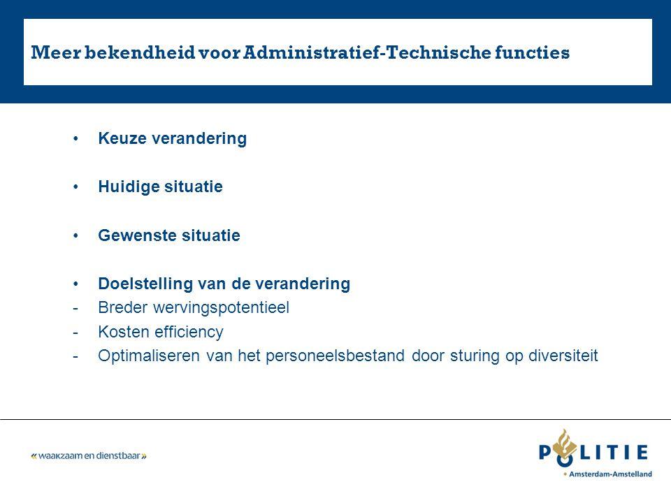 Meer bekendheid voor Administratief-Technische functies Keuze verandering Huidige situatie Gewenste situatie Doelstelling van de verandering -Breder w