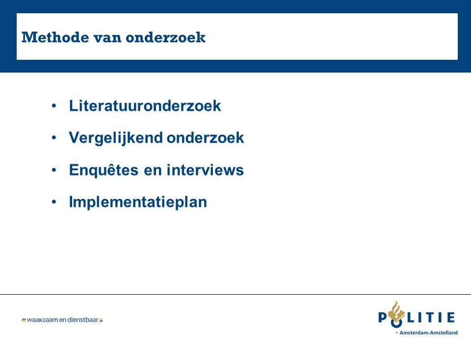 Methode van onderzoek Literatuuronderzoek Vergelijkend onderzoek Enquêtes en interviews Implementatieplan