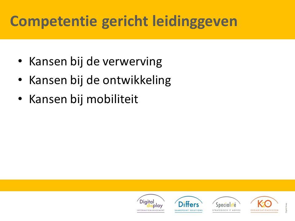 Competentie gericht leidinggeven Kansen bij de verwerving Kansen bij de ontwikkeling Kansen bij mobiliteit