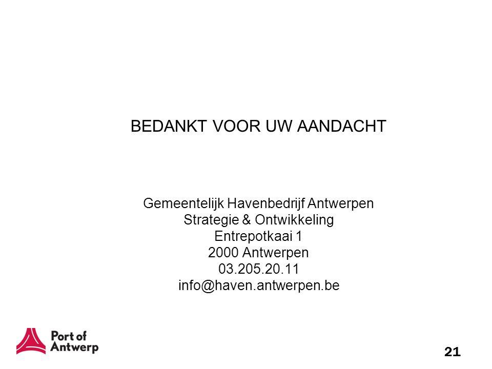 21 BEDANKT VOOR UW AANDACHT Gemeentelijk Havenbedrijf Antwerpen Strategie & Ontwikkeling Entrepotkaai 1 2000 Antwerpen 03.205.20.11 info@haven.antwerp