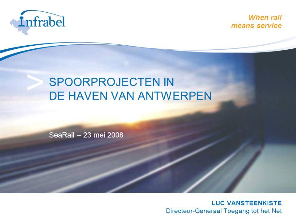 When rail means service > SPOORPROJECTEN IN DE HAVEN VAN ANTWERPEN SeaRail – 23 mei 2008 LUC VANSTEENKISTE Directeur-Generaal Toegang tot het Net