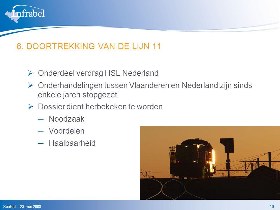 SeaRail - 23 mei 200810 6. DOORTREKKING VAN DE LIJN 11  Onderdeel verdrag HSL Nederland  Onderhandelingen tussen Vlaanderen en Nederland zijn sinds