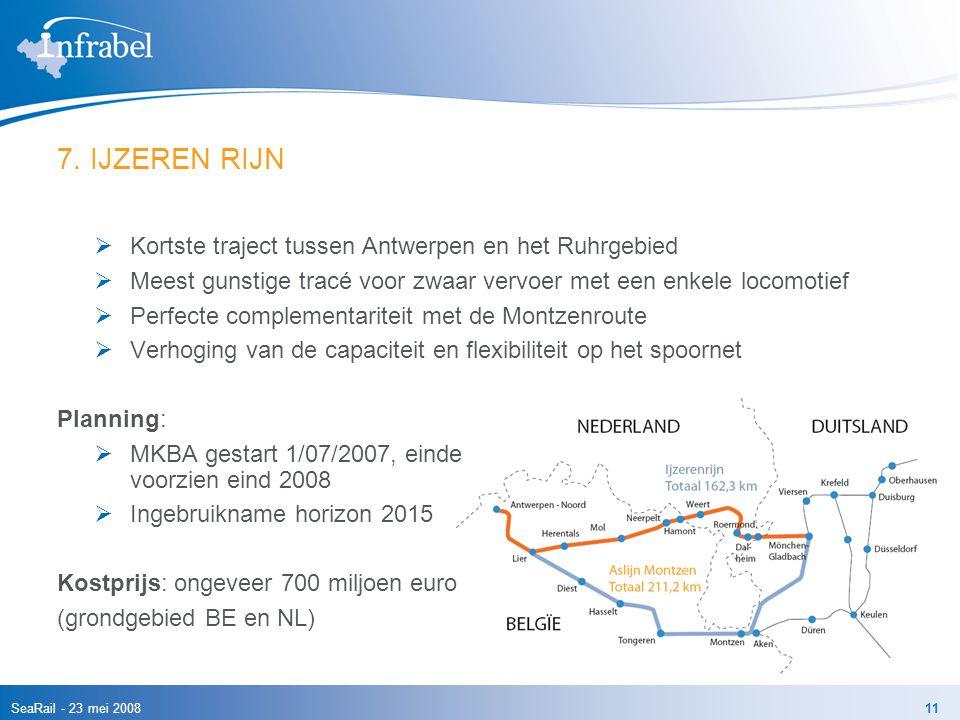 SeaRail - 23 mei 200811 7. IJZEREN RIJN  Kortste traject tussen Antwerpen en het Ruhrgebied  Meest gunstige tracé voor zwaar vervoer met een enkele