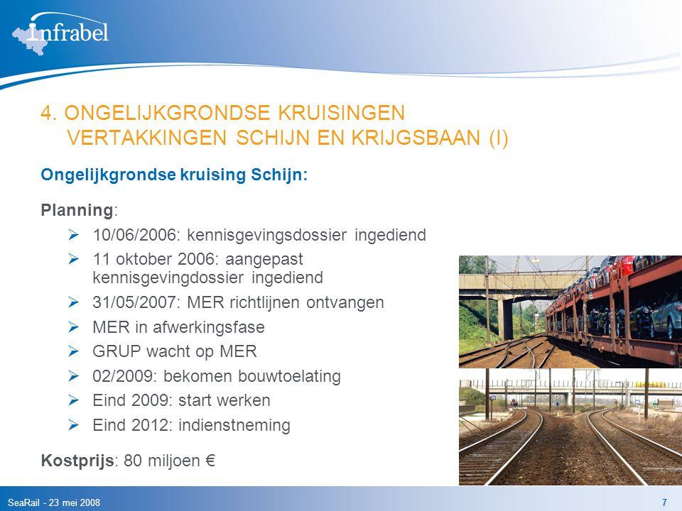 SeaRail - 23 mei 20087 4. ONGELIJKGRONDSE KRUISINGEN VERTAKKINGEN SCHIJN EN KRIJGSBAAN (I) Ongelijkgrondse kruising Schijn: Planning:  10/06/2006: ke