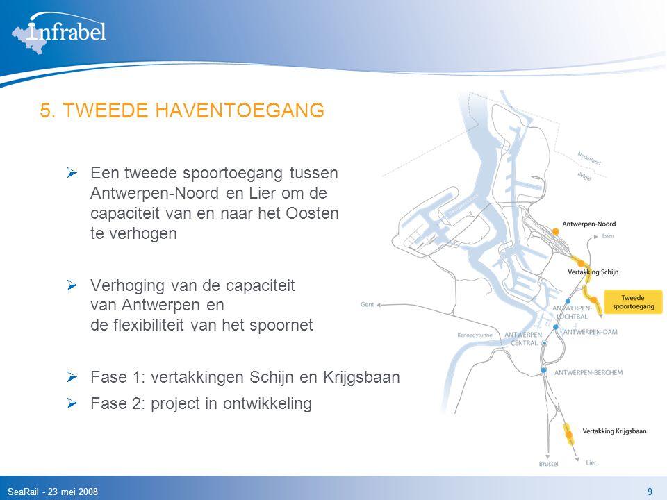SeaRail - 23 mei 20089 5. TWEEDE HAVENTOEGANG  Een tweede spoortoegang tussen Antwerpen-Noord en Lier om de capaciteit van en naar het Oosten te verh