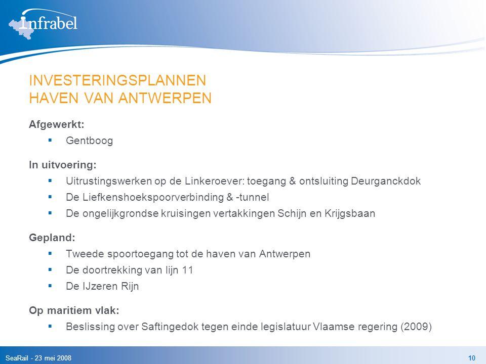 SeaRail - 23 mei 200810 INVESTERINGSPLANNEN HAVEN VAN ANTWERPEN Afgewerkt:  Gentboog In uitvoering:  Uitrustingswerken op de Linkeroever: toegang &