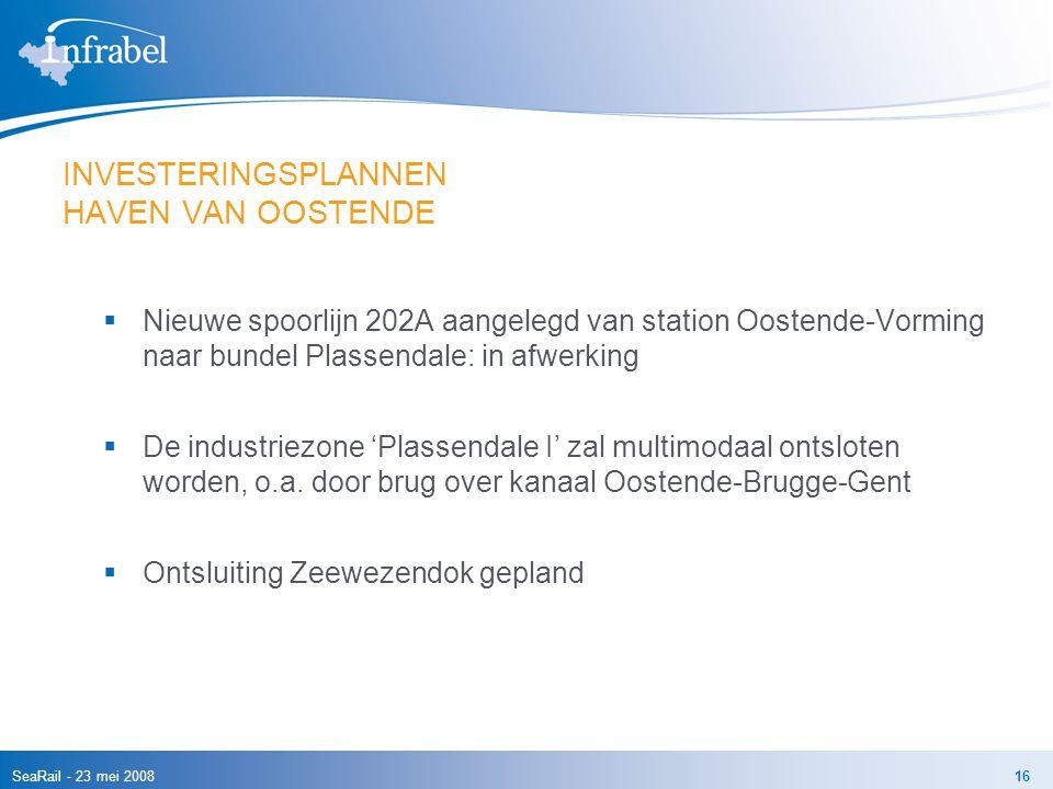SeaRail - 23 mei 200816 INVESTERINGSPLANNEN HAVEN VAN OOSTENDE  Nieuwe spoorlijn 202A aangelegd van station Oostende-Vorming naar bundel Plassendale: in afwerking  De industriezone 'Plassendale I' zal multimodaal ontsloten worden, o.a.