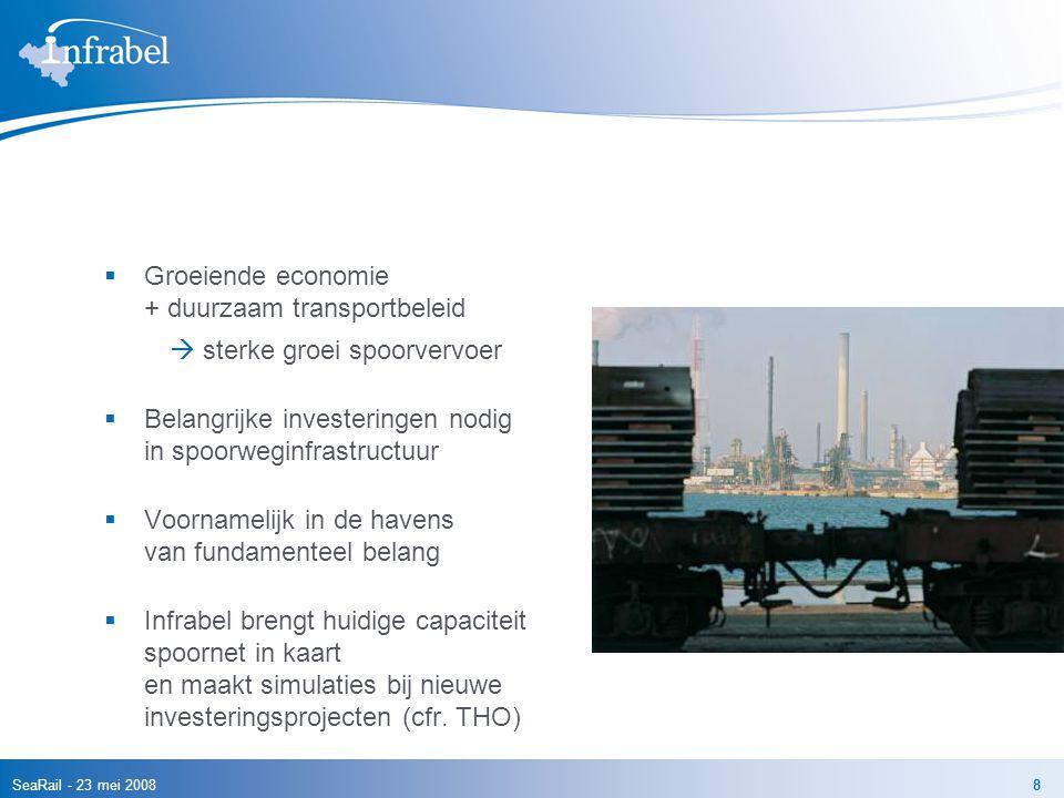 SeaRail - 23 mei 20088  Groeiende economie + duurzaam transportbeleid  sterke groei spoorvervoer  Belangrijke investeringen nodig in spoorweginfras