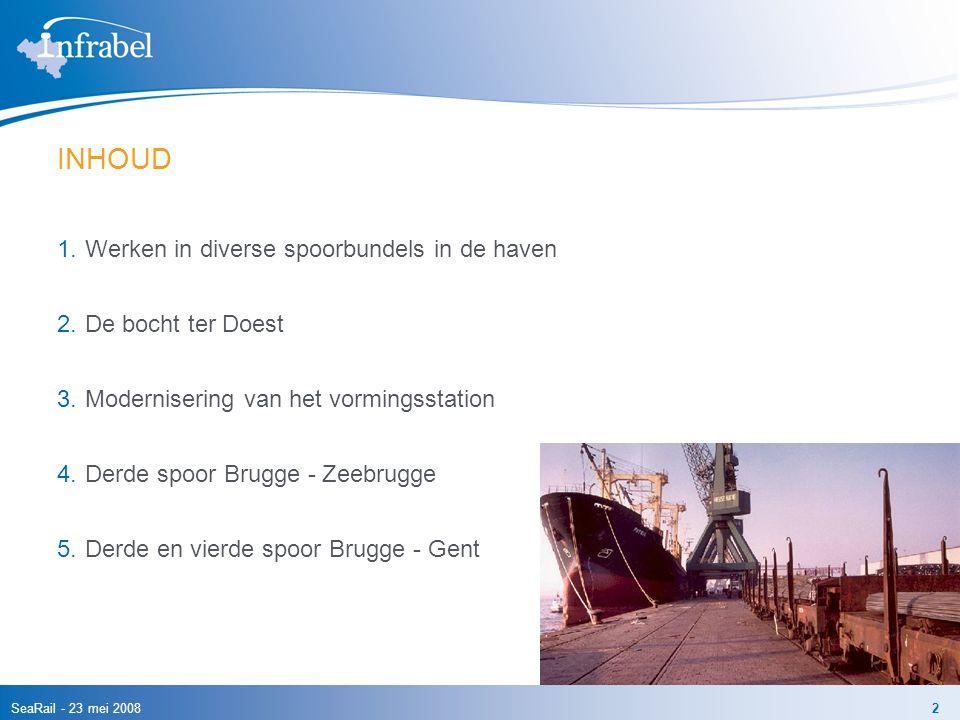 SeaRail - 23 mei 20082 INHOUD 1.Werken in diverse spoorbundels in de haven 2.De bocht ter Doest 3.Modernisering van het vormingsstation 4.Derde spoor Brugge - Zeebrugge 5.Derde en vierde spoor Brugge - Gent
