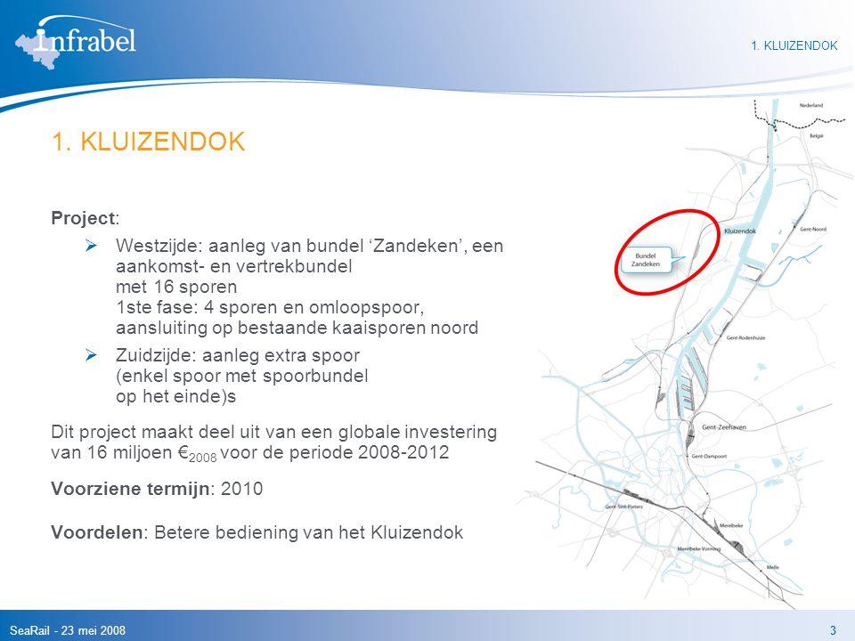 SeaRail - 23 mei 20083 1. KLUIZENDOK Project:  Westzijde: aanleg van bundel 'Zandeken', een aankomst- en vertrekbundel met 16 sporen 1ste fase: 4 spo