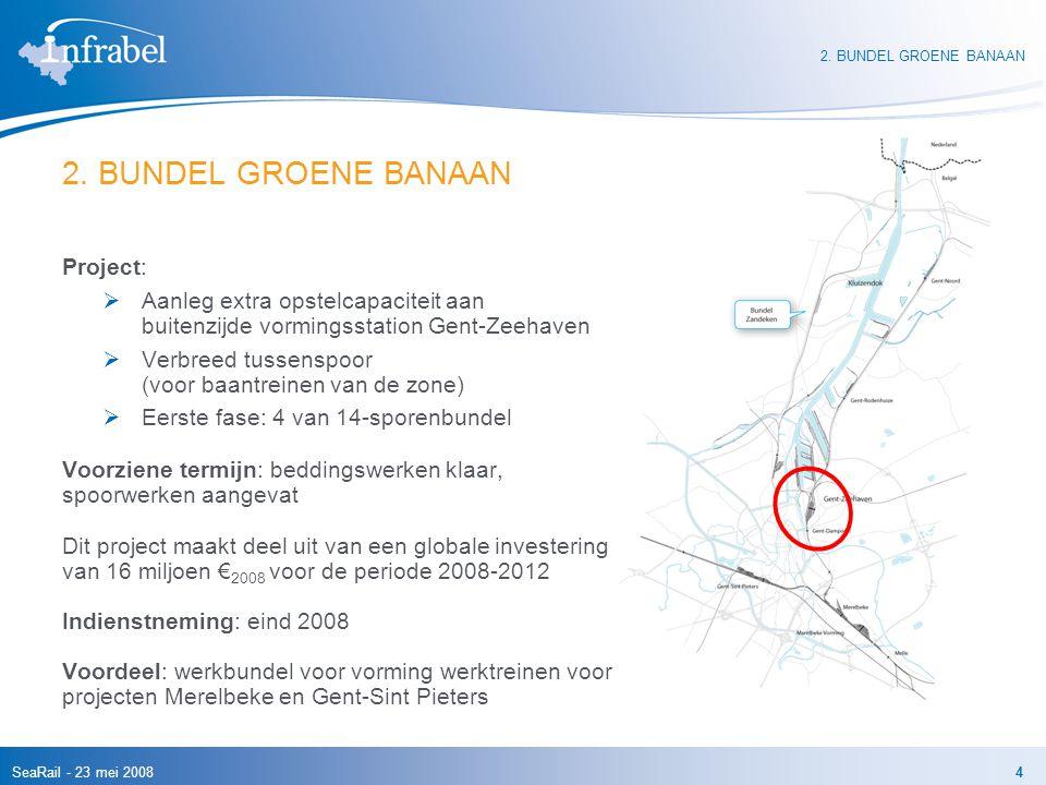 SeaRail - 23 mei 20084 2. BUNDEL GROENE BANAAN Project:  Aanleg extra opstelcapaciteit aan buitenzijde vormingsstation Gent-Zeehaven  Verbreed tusse
