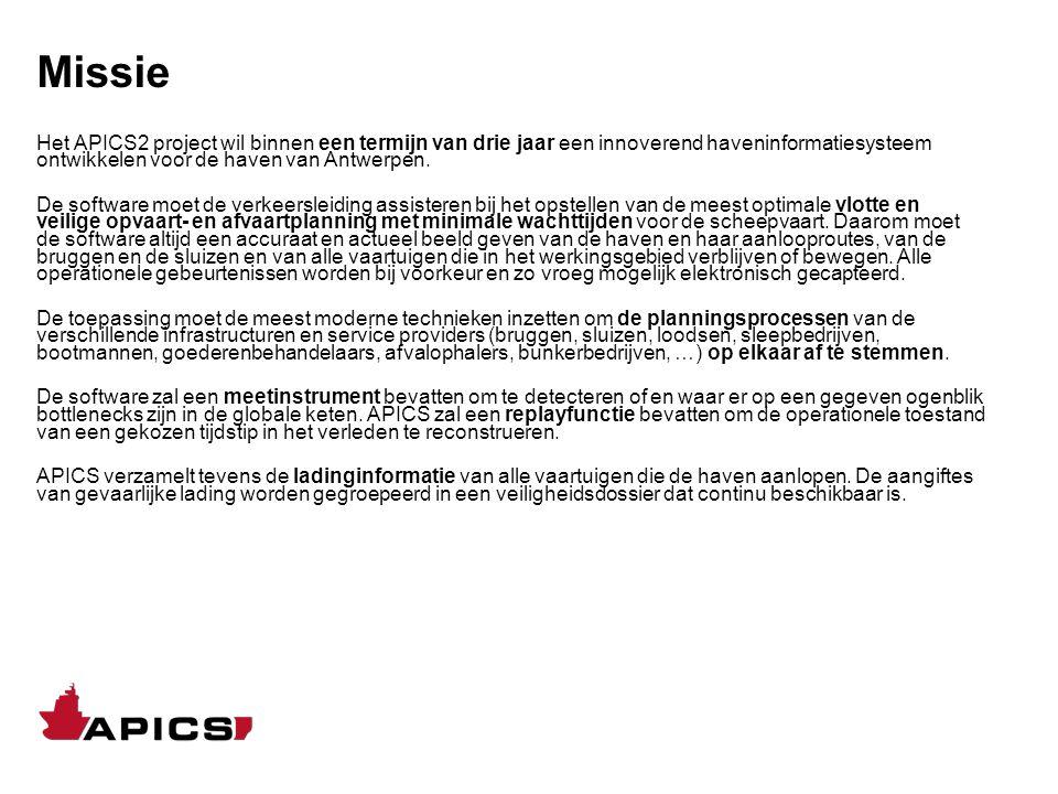 Missie Het APICS2 project wil binnen een termijn van drie jaar een innoverend haveninformatiesysteem ontwikkelen voor de haven van Antwerpen. De softw