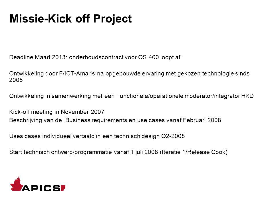 Missie-Kick off Project Deadline Maart 2013: onderhoudscontract voor OS 400 loopt af Ontwikkeling door F/ICT-Amaris na opgebouwde ervaring met gekozen